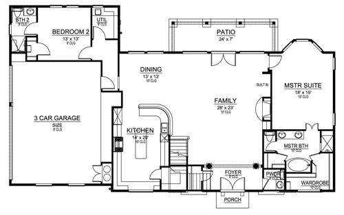 First Floor image of Featured House Plan: BHG - 4907