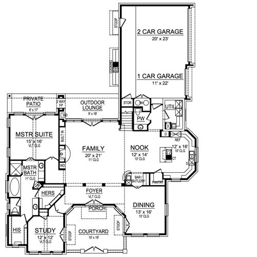 First Floor image of Featured House Plan: BHG - 4949