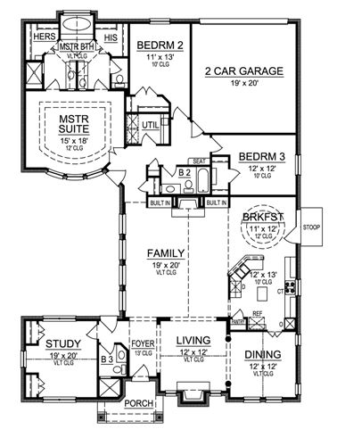 First Floor image of Featured House Plan: BHG - 4696