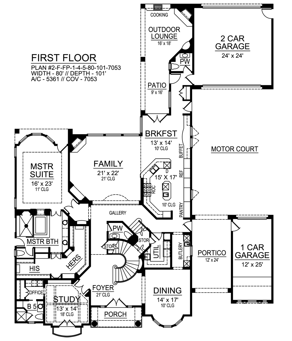 First Floor image of Featured House Plan: BHG - 9450