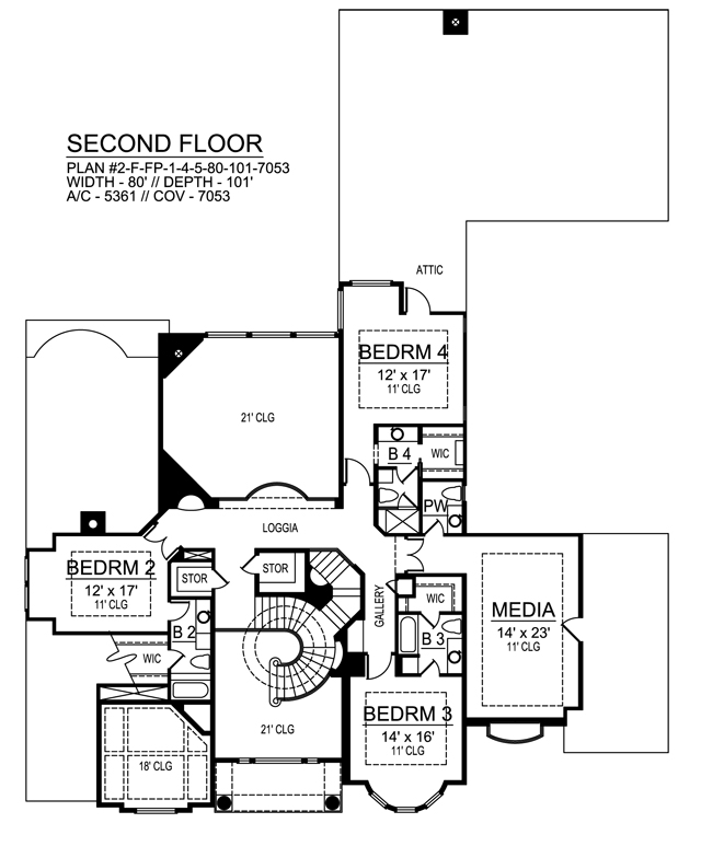 Second Floor image of Featured House Plan: BHG - 9450