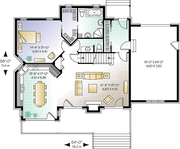 First level image of three-bedroom chalet house plan
