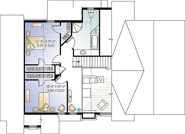 Second level image of three-bedroom chalet house plan