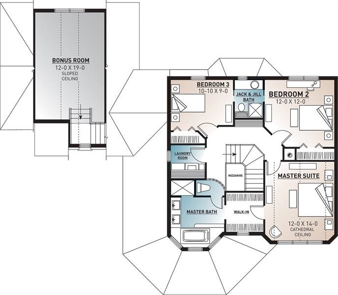 2nd Floor Plan image of Featured House Plan: BHG - 4573