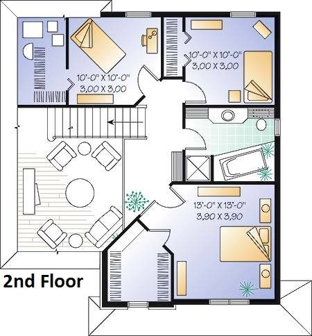 2nd Floor Plan image of Featured House Plan: BHG - 4719