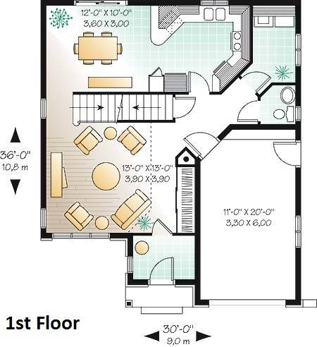 1st Floor Plan image of Featured House Plan: BHG - 4719