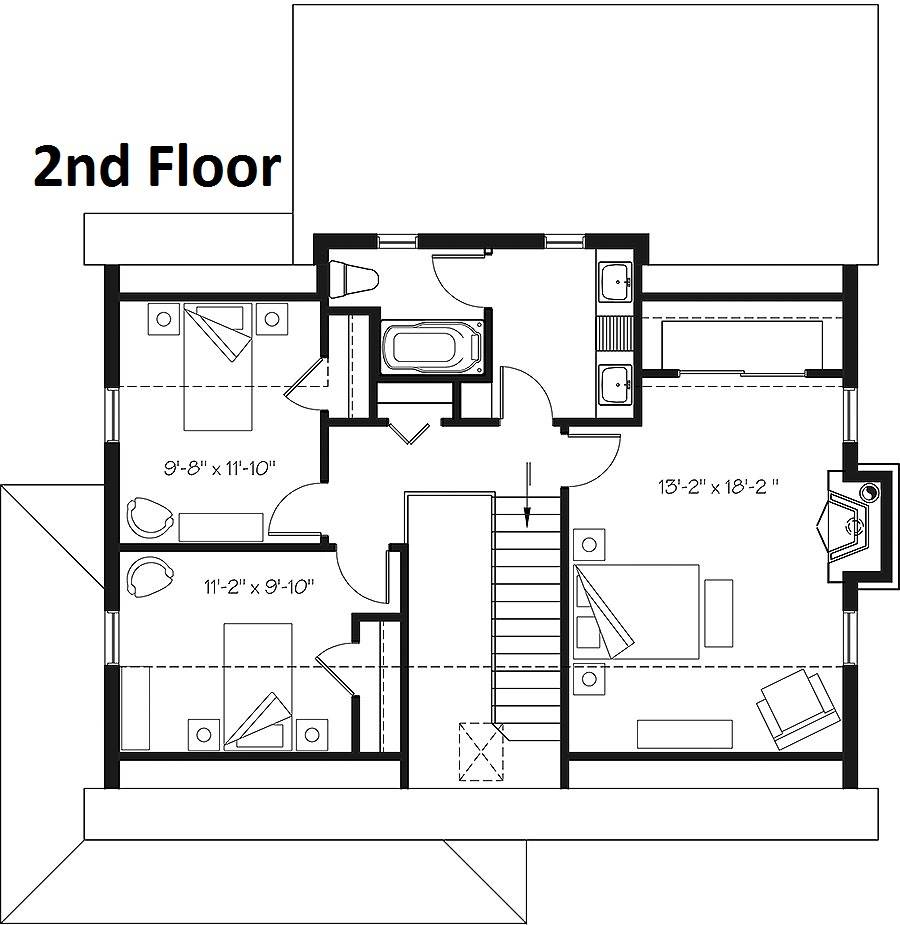 2nd Floor Plan image of Featured House Plan: BHG - 6093