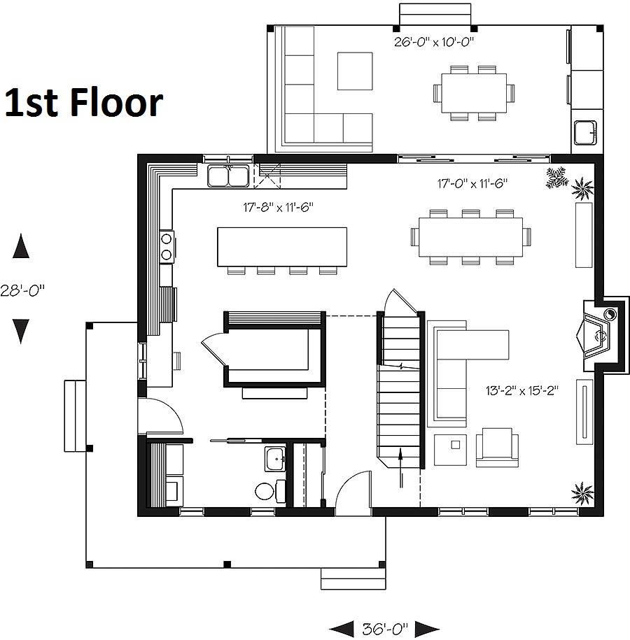 1st Floor Plan image of Featured House Plan: BHG - 6093
