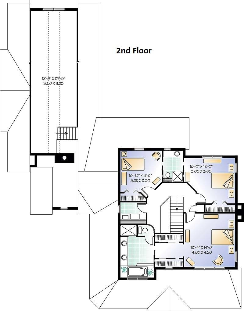 2nd Floor Plan image of Featured House Plan: BHG - 6202