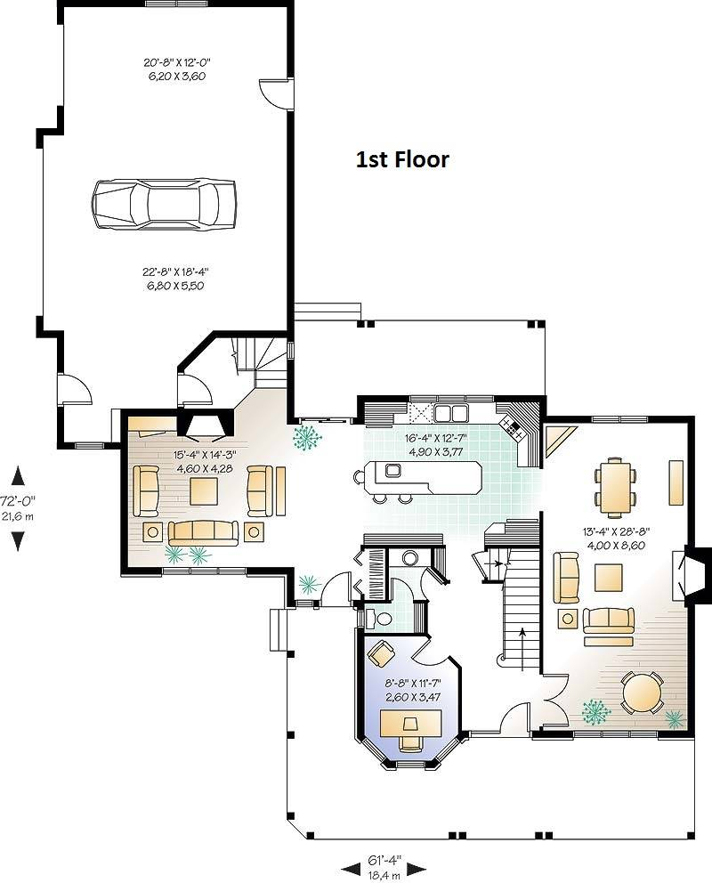 1st Floor Plan image of Featured House Plan: BHG - 6202