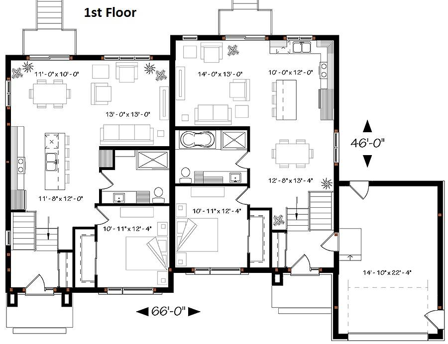 1st Floor Plan image of Featured House Plan: BHG - 6203