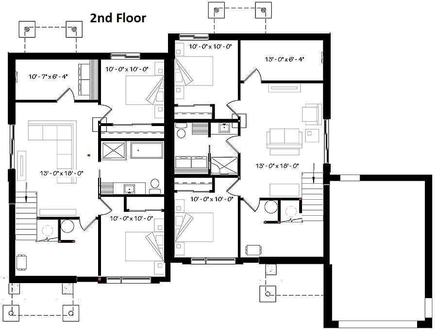 2nd Floor Plan image of Featured House Plan: BHG - 6203