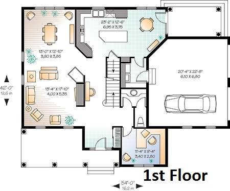 1st Floor Plan image of Featured House Plan: BHG - 6344