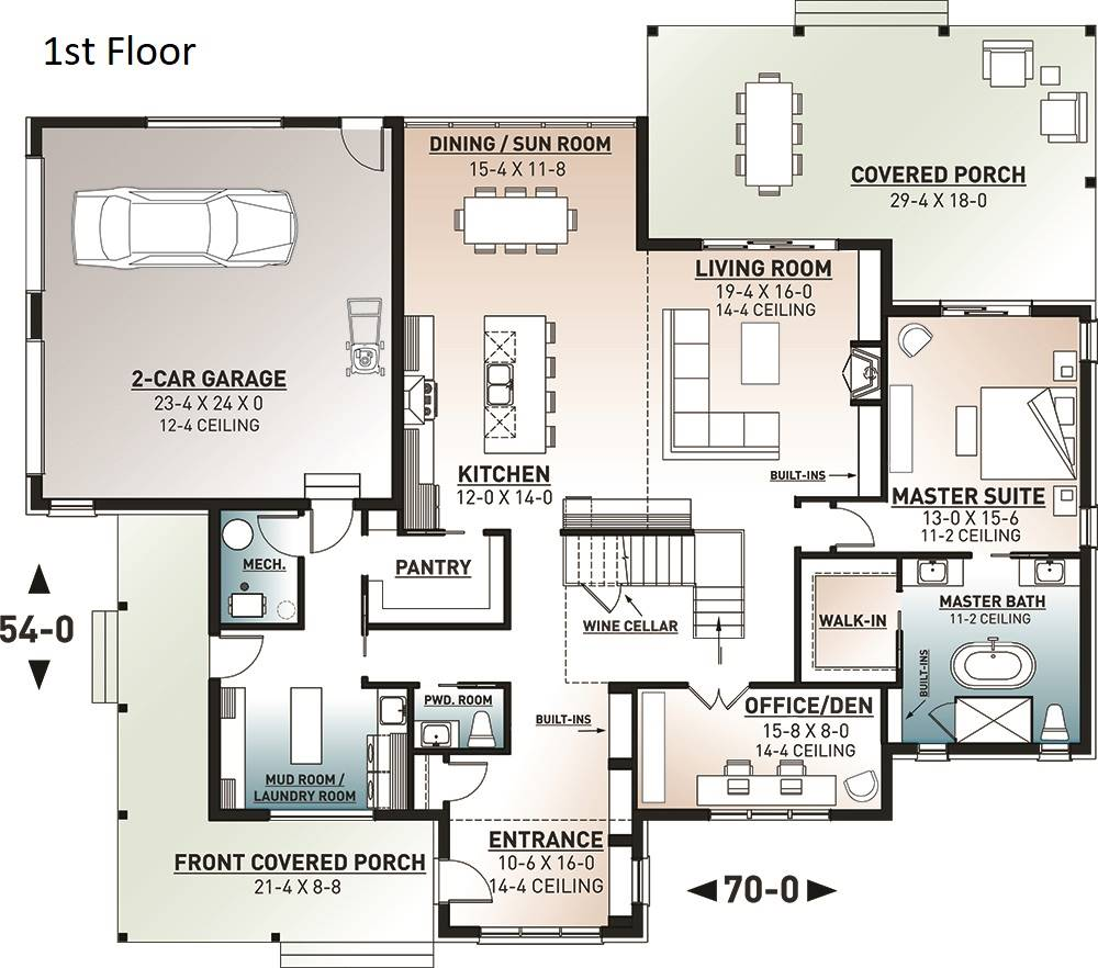 1st Floor Plan image of Featured House Plan: BHG - 7270