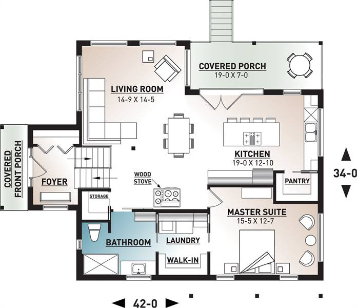 Main level image of Featured House Plan: BHG - 7341