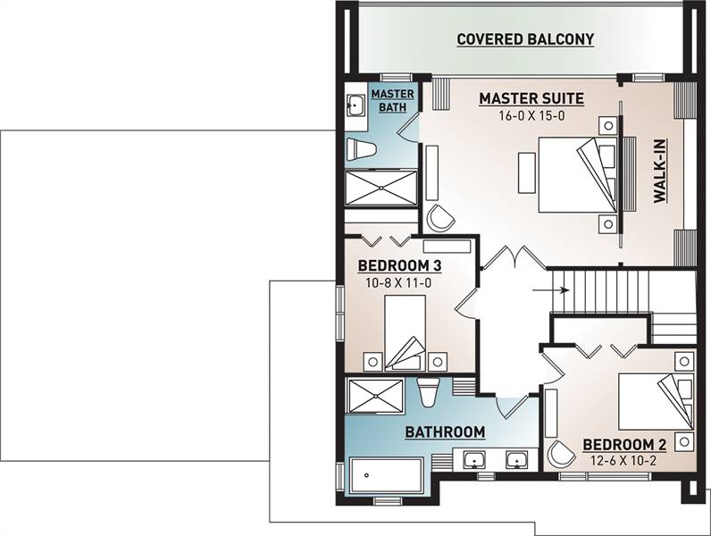 2nd Floor Plan image of Featured House Plan: BHG - 7344