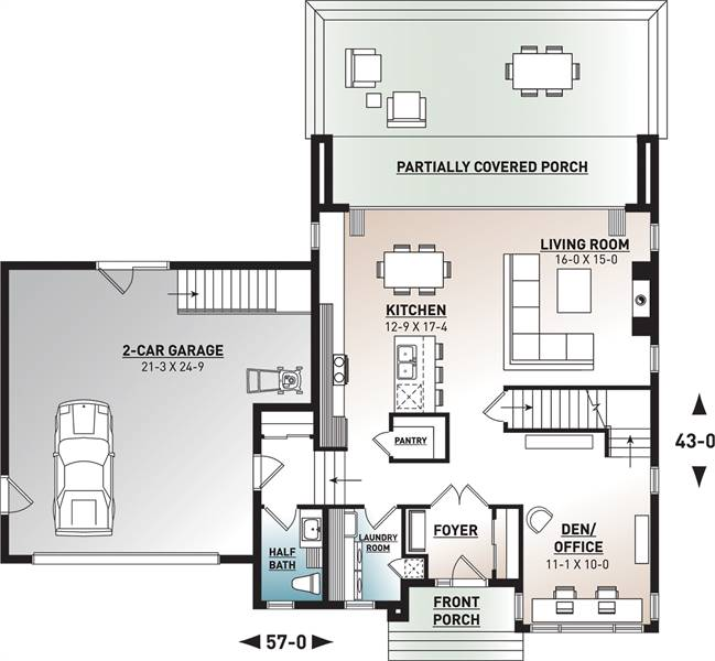 1st Floor Plan image of Featured House Plan: BHG - 7344
