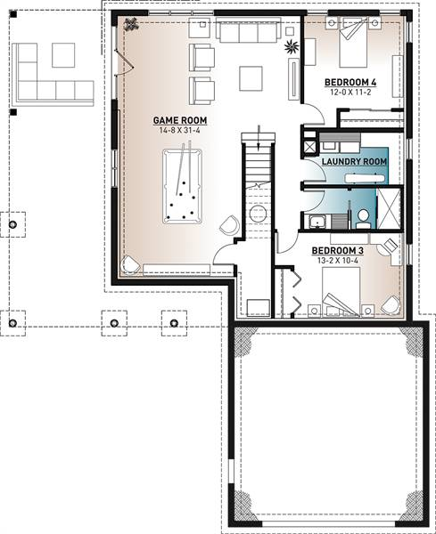 Basement image of Featured House Plan: BHG - 7354