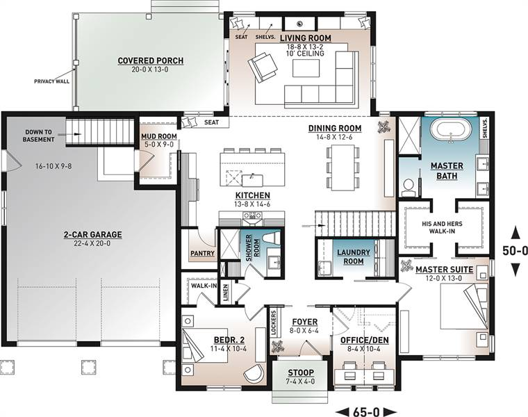 1st Floor Plan image of Featured House Plan: BHG - 7436