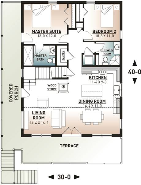 1st Floor Plan image of Featured House Plan: BHG - 7545