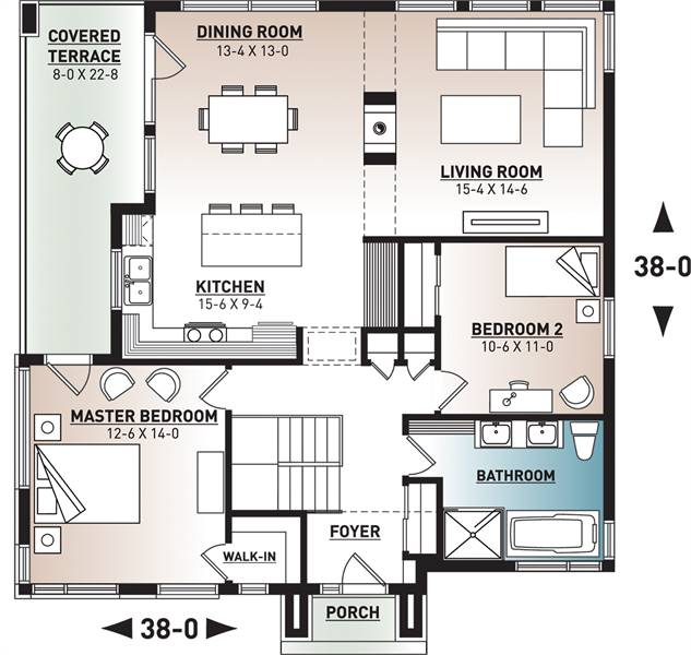 1st Floor Plan image of Featured House Plan: BHG - 7823