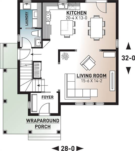 1st Floor Plan image of Featured House Plan: BHG - 7852