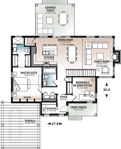 1st Floor Plan image of Featured House Plan: BHG - 7875