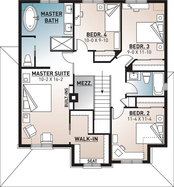 2nd floor plan image of Featured House Plan: BHG - 8345