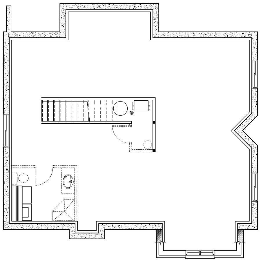 Basement Plan image of 3 Bedroom Rustic Cottage Style House Plan 8786
