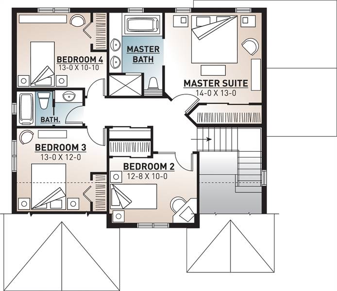2nd Floor Plan image of Featured House Plan: BHG - 9548