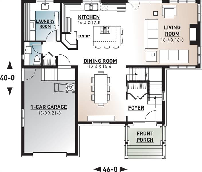 1st Floor Plan image of Featured House Plan: BHG - 9548
