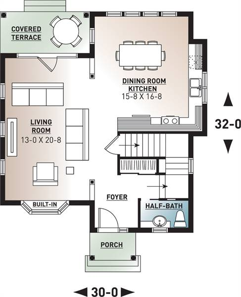 1st Floor Plan image of Featured House Plan: BHG - 9558