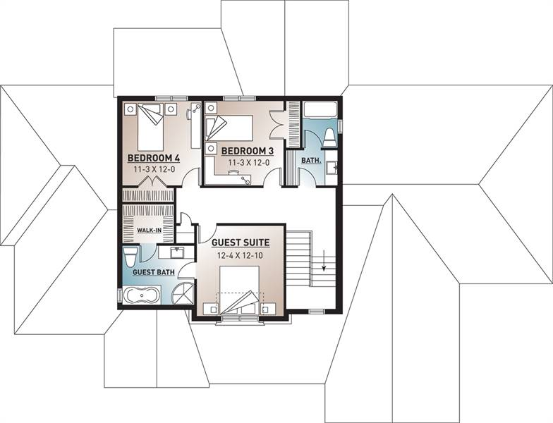 2nd Floor Plan image of Featured House Plan: BHG - 9560