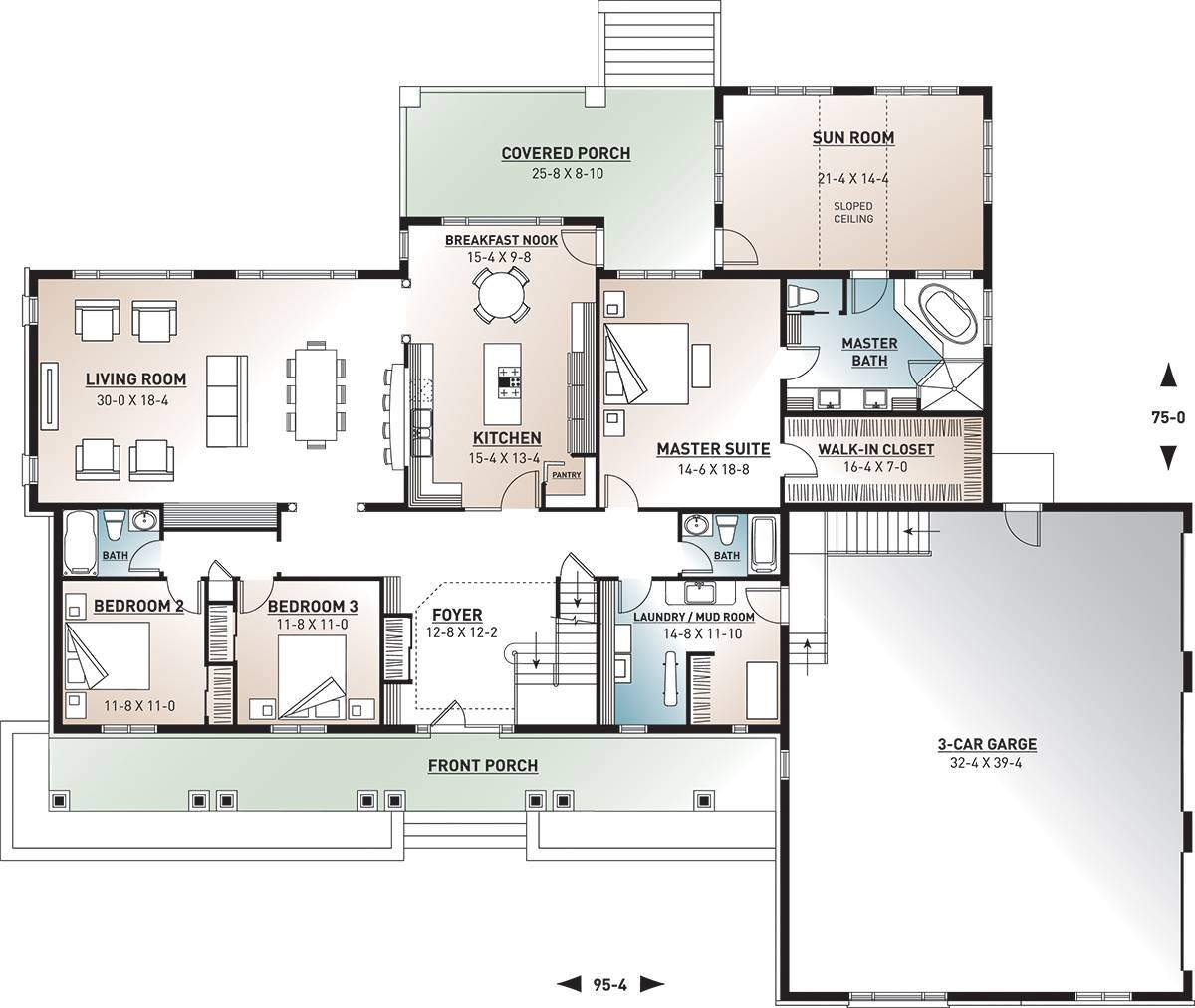 1st Floor Plan image of Featured House Plan: BHG - 9561