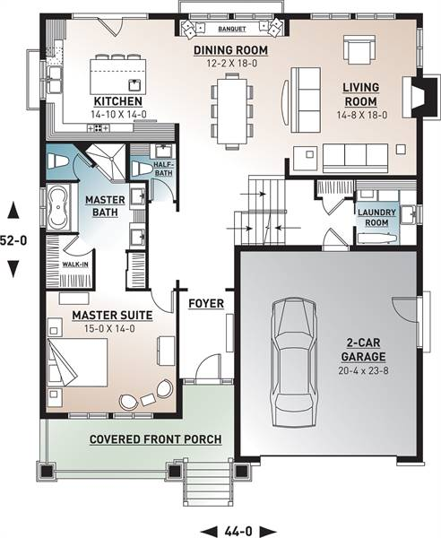1st Floor Plan image of Featured House Plan: BHG - 9842