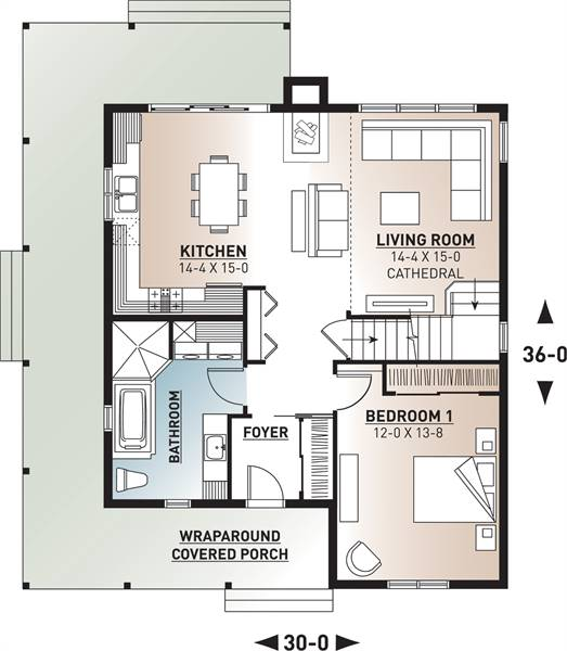 1st Floor Plan image of Featured House Plan: BHG - 9846