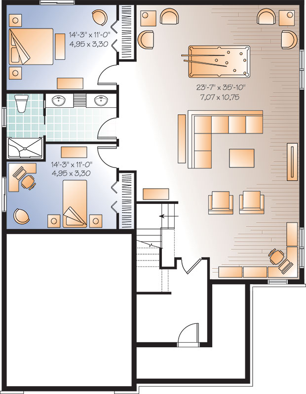 Basement image of Featured House Plan: BHG - 9574