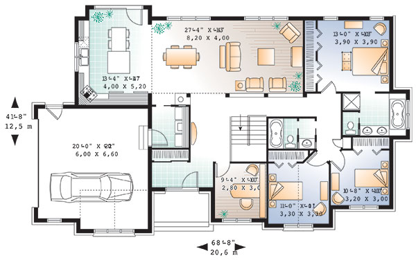 Main level image of Featured House Plan: BHG - 9843