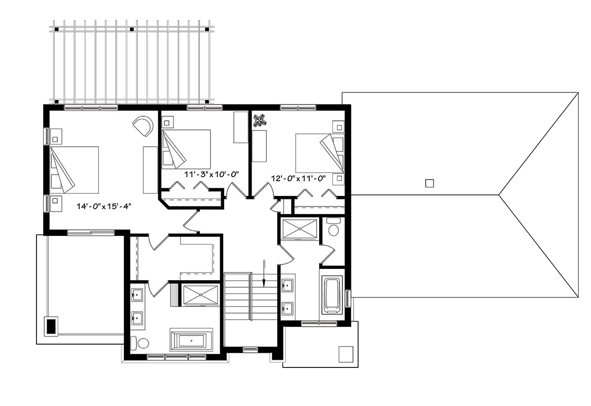Second Floor image of Featured House Plan: BHG - 1439