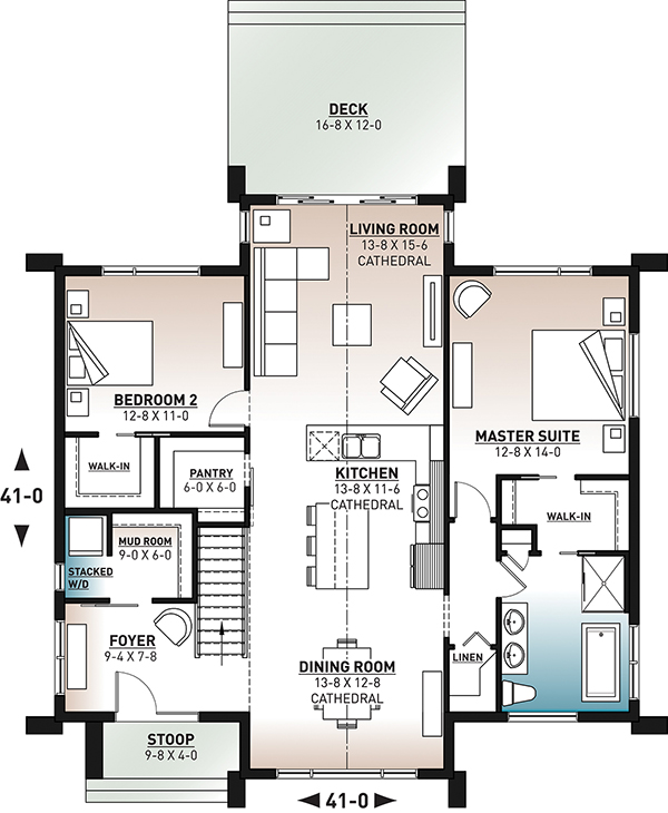 1st Floor Plan image of Featured House Plan: BHG - 6364