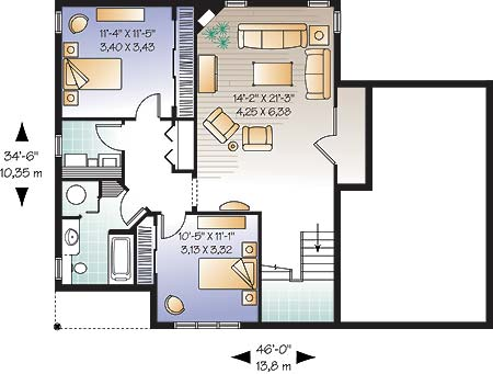Basement image of Featured House Plan: BHG - 4680