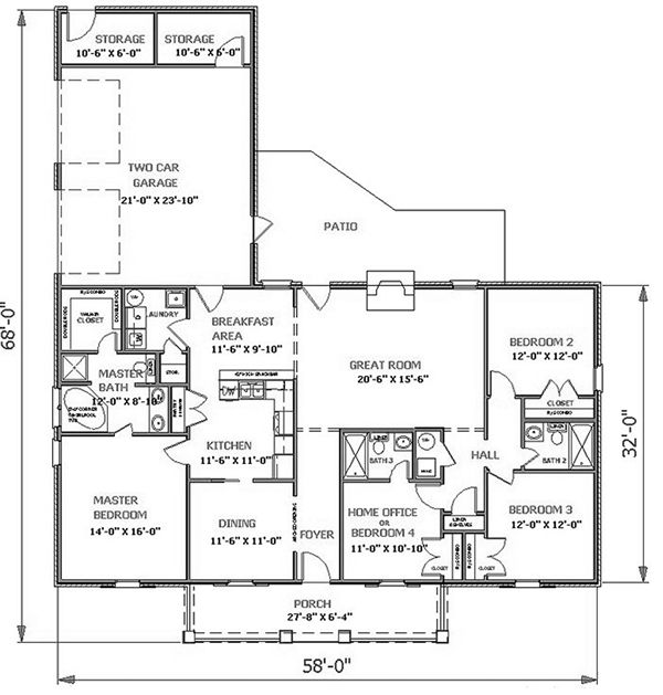 Floor Plan image of Featured House Plan: BHG - 5644