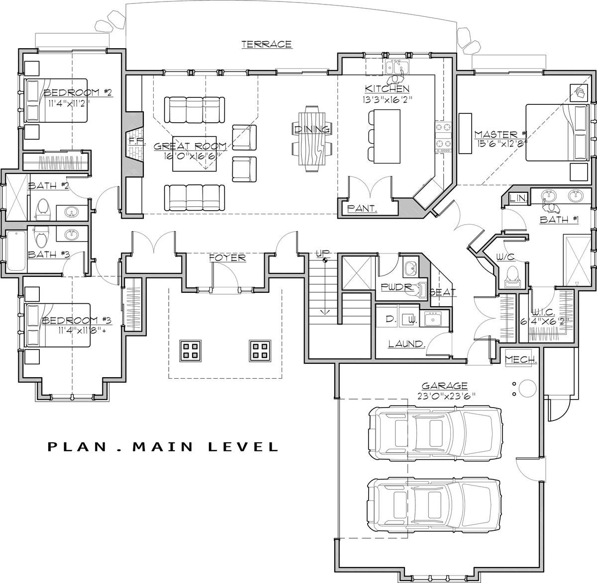 1st Floor Plan image of Featured House Plan: BHG - 7450