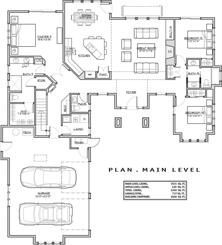 1st Floor Plan image of Featured House Plan: BHG - 1939