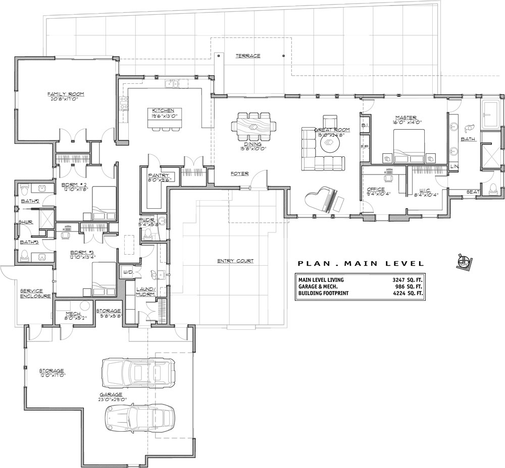 1st Floor Plan image of Featured House Plan: BHG - 9064
