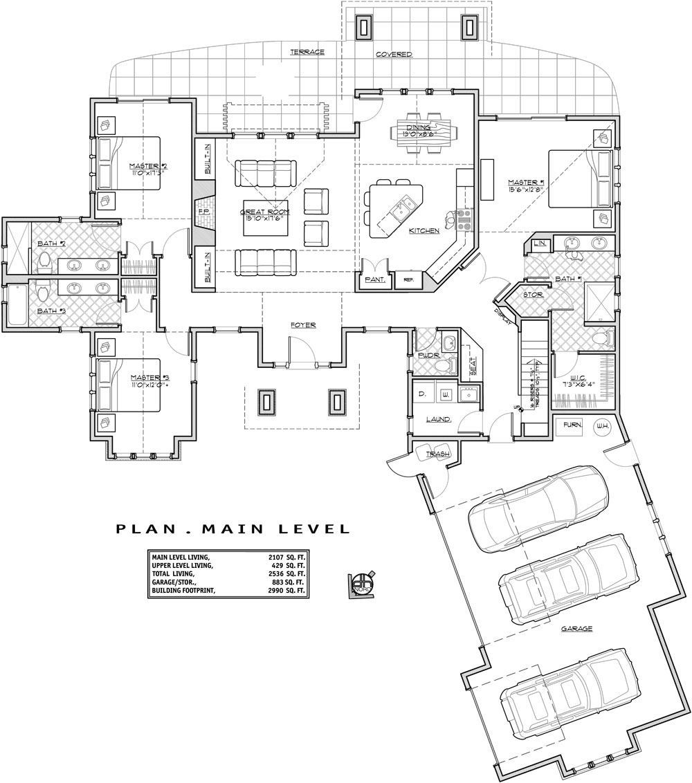 1st Floor Plan image of Featured House Plan: BHG - 9632