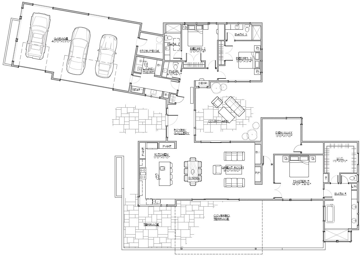 1st Floor Plan image of Featured House Plan: BHG - 3065