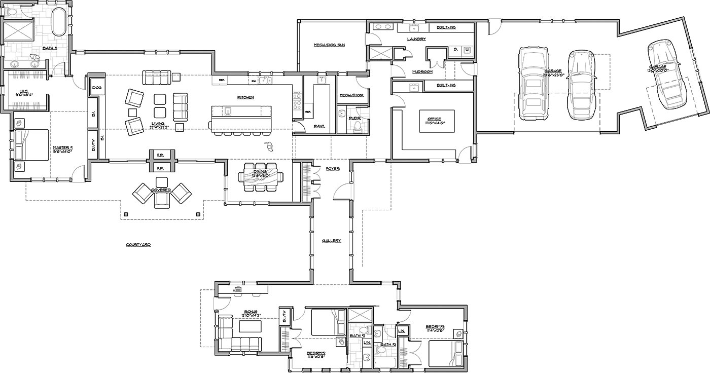 1st Floor Plan image of Featured House Plan: BHG - 3054