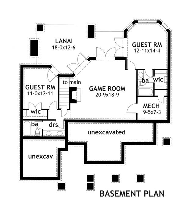 Basement Plan image of Featured House Plan: BHG - 2231