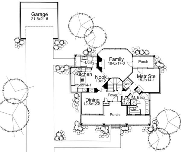 First Floor Plan image of Featured House Plan: BHG - 5788